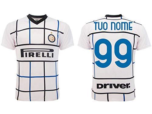 Maglia Inter 2021 Personalizzata Away Ufficiale 2020-2021 Adulto Ragazzo Bambino Tuo Nome e Numero Trasferta Bianca (XL Adulto)