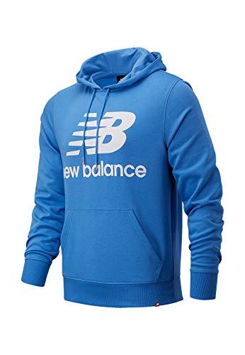 New Balance Herren Hoodie ESSENIALS Stacked Logo Hoodie MT03558 Blue, Größe:L