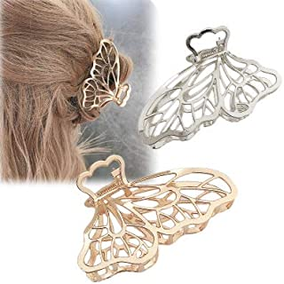 LYDZTION 2 PACK Metal Hair Claw Clips for Women,Large Butterfly Hair Clip Hair Claw Banana Clips Barrette Claw Clamp Hair ...