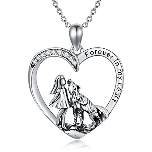 LONAGO Collana Ragazza e Lupo 925 Sterline D'argento Per Sempre Nel Mio Cuore Lupo Pendente Collana Gioielli per le Donne