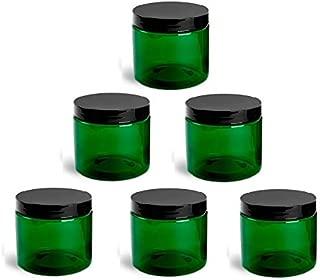 QTY 30 - 2 Oz Green Plastic Container Jars Black Cap (2 oz)