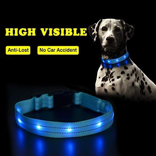 PcEoTllar LED Hundehalsband Leuchthalsband Wasserdicht Leuchten Hundehalsband USB Wiederaufladbare Blinkende Hundehalsbänder Einstellbar Super Bright für Nacht Dunkel - Blau - L