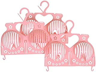 xdobo Plastic Household Brassiere Drying Rack Storage Protector Shaper Holder Laundry Bra Hanger Pink- 3 pieces