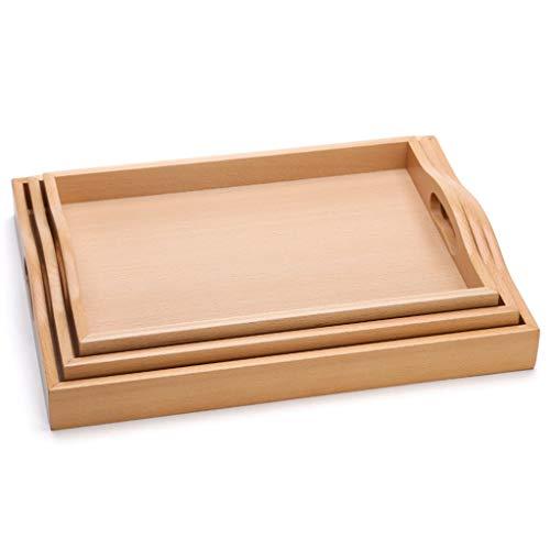 Bandeja Bandeja de madera maciza natural rectangular, accesorios for juegos de té japoneses, bandeja de madera portátil de múltiples funciones de la taza de té placa de madera Bandeja Antideslizante