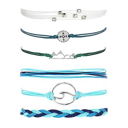 Long tiantian Summer Ankle Bracelets for Women Boho Surfer Wave Bracelets Waterproof Handmade Braclet Braided Rope Adjustable Compass Strand Bracelet for Teen Girls Women