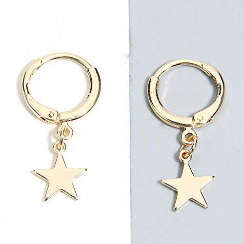 Pendientes Pendientes de aro de Estrella de Cinco Puntas de Moda Color Oro Plateado para Mujeres Hombres Fiesta Punk Minimalista Regalo de joyería, A1