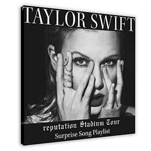 Taylor Swift Reputation Tour Sorpresa Canción Lista de reproducción Álbum Cover (1) Póster de lona Decoración de dormitorio, Paisaje Deportivo Oficina Decoración Regalo 60 x 60 cm) Marco1