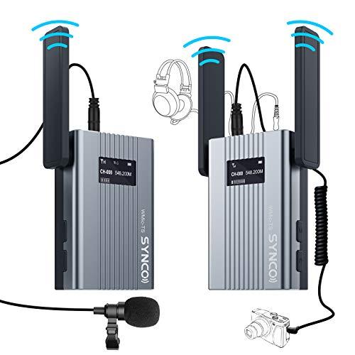 SYNCO TS Mini Sistema de UHF-Micrófono-Inalámbrico-Solapa-DSLR, 60 Canales Compatible para Cámara Reflex, Videocámara y Móvil, 150m Rango de Transmisión