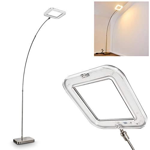 LED Stehlampe Vimpeli, dimmbare Stehleuchte aus Metall in Nickel-matt, 18 Watt, 1500 Lumen, Lichtfarbe 3000 Kelvin (warmweiß), Bogenlampe mit verstellbarem Leuchtenkopf und Fußschalter am Kabel