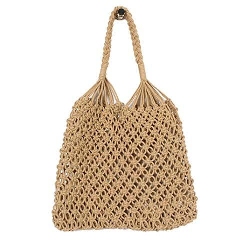 DYSCN Creative Stroh Tasche Baumwollfaden Gewebte Tasche Tragbare Fischernetz Tasche Casual Eimer Handtasche Summer Beach Geldbörse für Frauen/Mädchen, Kamel