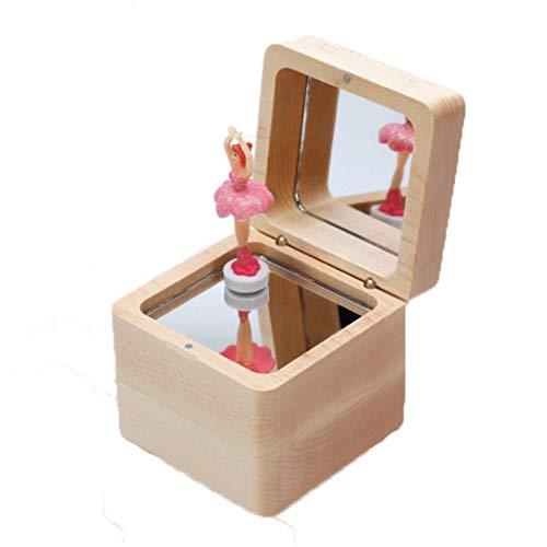 Caja de música de ángel Regalos de madera giratoria de la caja de música de baile giratoria muchacha del ballet Ballet Plaza de la caja de música de princesa Girl cumpleaños la víspera de Navidad Año
