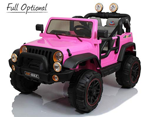 Mondial Toys Auto ELETTRICA 12V per Bambini 2 POSTI Maxi Fuoristrada con Telecomando 2.4G Soft Start AMMORTIZZATORI Full Optional HP-002 Pink