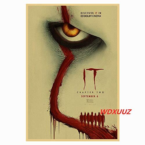 Amerikanischer Suspense-Horrorfilm Pennywise: Das S von 'IT' im Retro-Stil Home Decoration Poster Wandkunst Room Joker Poster-Rahmenlos-40X60cm