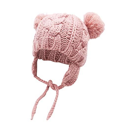 Unisex-Baby Jungen Mädchen Mütze Frühling Winter Beanie Strickmütze mit Ohrenklappen und Bindebändern Niedlich Pompom Wintermütze Babymütze Kindermützen Schnee Hut