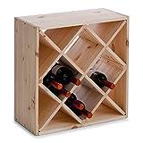 Zeller 13171 Casier à vin en bois naturel forme losange, 52 x 25 x 52 cm