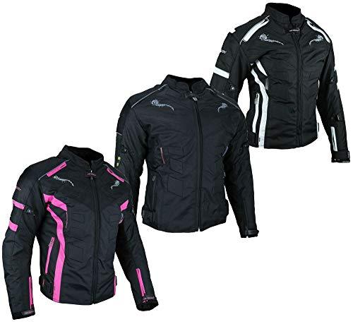 HEYBERRY Damen Motorrad Jacke Motorradjacke Textil Schwarz Weiß Gr. L / 40