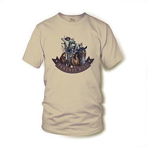 Terence Hill T-Shirt - Der Müde Joe Pferd - Vier Fäuste für EIN Halleluja (Sand) Renato Casaro Edition (L)