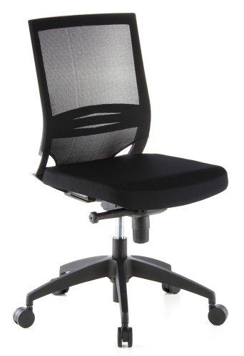 hjh OFFICE 657210 Profi Bürostuhl Porto ECO Stoff/Netz Schwarz Drehstuhl ergonomisch ohne Armlehnen, Lordosenstütze verstellbar