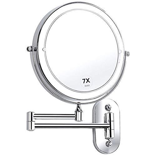 Miroir Grossissant Lumineux Mural x7 Miroir Salle De Bain 8 Pouces Double Face LED 360 Degrés Rotation Pliable 4 Piles AAA Requises (Non Fournies)