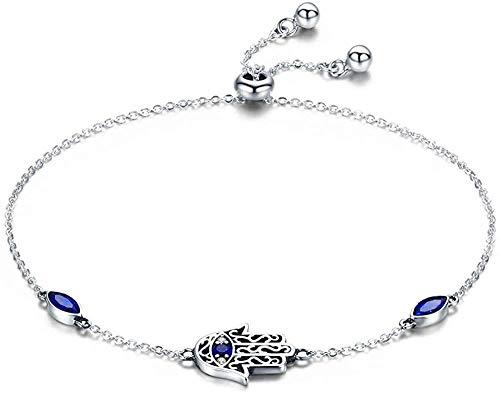AOAOTOTQ Co.,ltd Collar de Plata de Fátima, Pulseras de eslabones de Cadena de Mano, Pulseira, Pulseras de Mujer afortunadas, joyería
