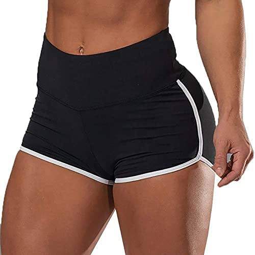 Jiaojie Pantalones cortos de entrenamiento para mujer, pantalones de yoga de cintura alta, levantamiento de glúteos, fruncido, gimnasio, pantalones cortos, color sólido