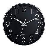 HZDHCLH 30cm Modern Quartz Lautlos Wanduhr Schleichende Sekunde mit Arabisch Ziffer ohne Ticken für Dekoration Wohnzimmer, Küche, Büro, Schlafzimmer (Silber-schwarz) …