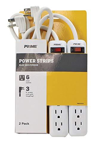 Prime Wire PB8100X2 tira de alimentación de 6 salidas con enchufe de ángulo recto y cable SJT 14-3 de 3 pies, paquete de 2