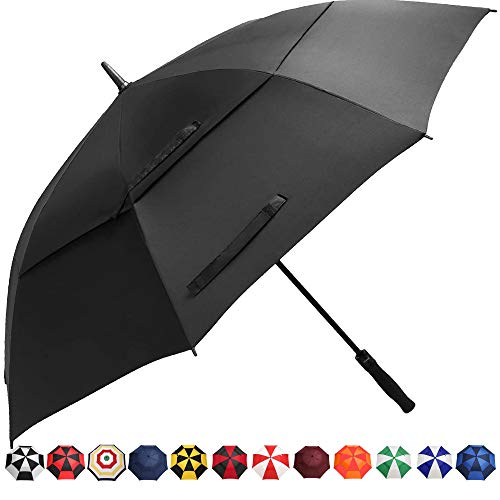 BAGAIL Golf Umbrella 68/62/58 Inch Large Oversize Double Canopy Vented Automatic Open Stick Umbrellas for Men and Women(Black,62 inch)