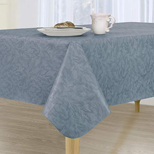 """Sonoma Damask Stain Resistant and Spill Proof with Flannel Backing Vinyl Tablecloth for Spring/Summer/Party/Picnic, Slate Blue, 60""""x120"""" Oblong/Rectangle"""