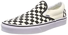 : Canvas Uppers : Classic White/cream And Black Checkerboard Design : Cotton Drill Lining For Breathability : Lateral Rubber Bands Ensure Perfect Fit : Waffle Textured Sole For Grip