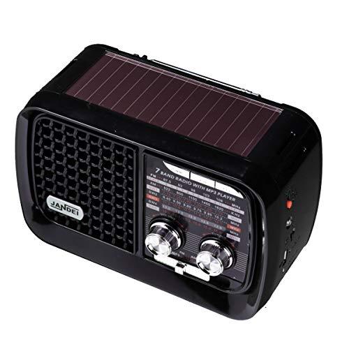 Radio con batería Recargable, Bluetooth, FM/Am / SW1-5, con Linterna, Cable USB Carga Incluido. (Radio Solar)