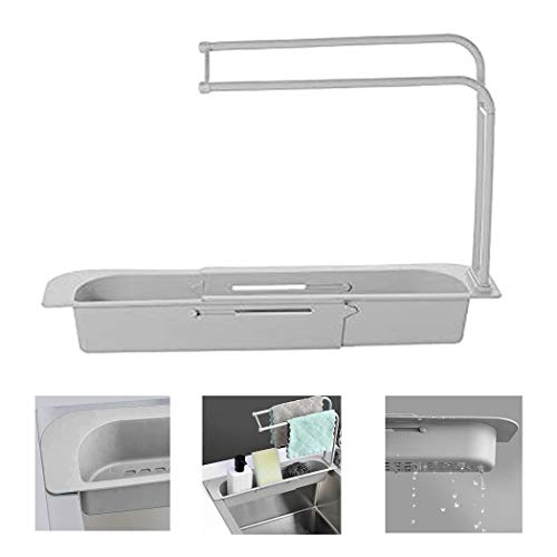 Telescopic Sink Rack Adjustable Sponge Soap Holder Dish Cloth Hanger Sink Tray, 2-in-1 Sink Caddy, Expandable Storage Drain Basket for Home Kitchen Kit