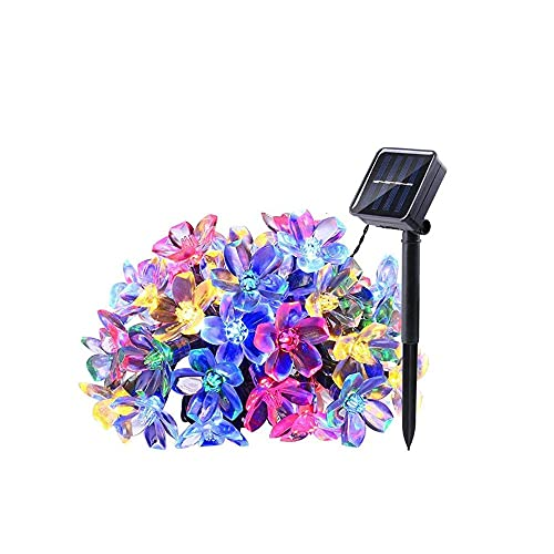 ZGNB Outdoor Solar Flower String Lights Waterproof 7m 50 LED Flower Blossom Solar String Lights, 8 Modes Solar Powered Sakura Lights, for Christmas Tree Garden Patio Fence Multicolor