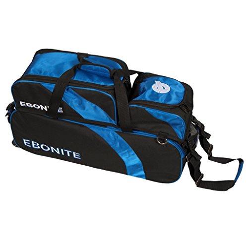 Ebonite Equinox Tragetasche für 3 Bälle, abnehmbare Tasche, Schwarz/Königsblau