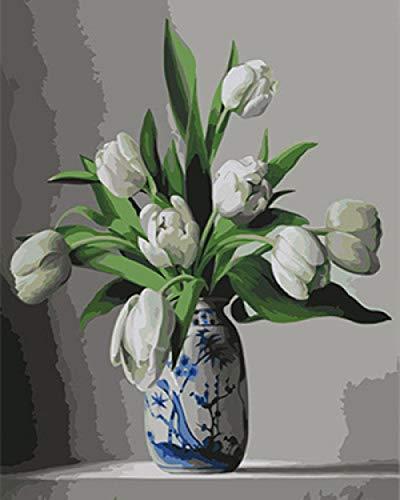 Pintar por Numeros Flores blancas frescas para Adultos Niños Pintura por Números con Pinceles y Pinturas Decoraciones, DIY Conjunto Completo de Pinturas para el Hogar (16 * 20 Pulgadas, Sin Marco)