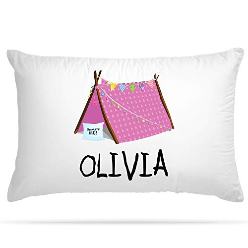 PERSONALISED Cushion Cover Pillowcase Kids Slumber Party Tent sleepover teepee Custom Gift for Girls and Boys (Pink)