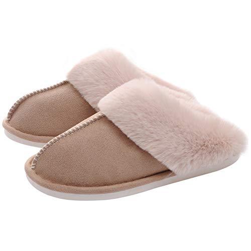 WATMAID Women's House Slippers Memory Foam Fluffy Soft Slippers, Slip on Winter Warm Shoes for...