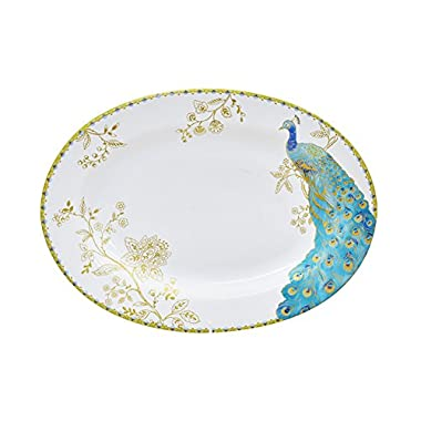 222 Fifth 1027WH601A1H61 Peacock Garden Oval Platter, White