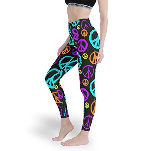 Peace Womens non vedere attraverso Yoga Leggings per palestra,Pantaloni di controllo pancia,Slim Fit pantaloni sportivi per le donne bianco L