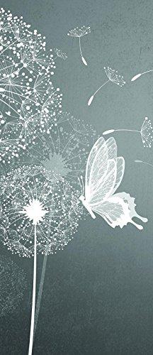 Forwall vliesfotobehang paneel deur fotobehang behang vlies | Welt-der dromen | Paardebloemen en vlinders | Door Mural Photo Sticker 10158_Vet-AW | Natuur bloemen paardenbloemen vlinder VET (211 cm. x 91cm.) Zwart en wit, grijs.