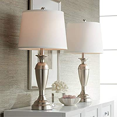 Blair Modern Table Lamps Set of 2 Brushed Steel Metal White Drum Shade for Living Room Family Bedroom Bedside Nightstand - Regency Hill