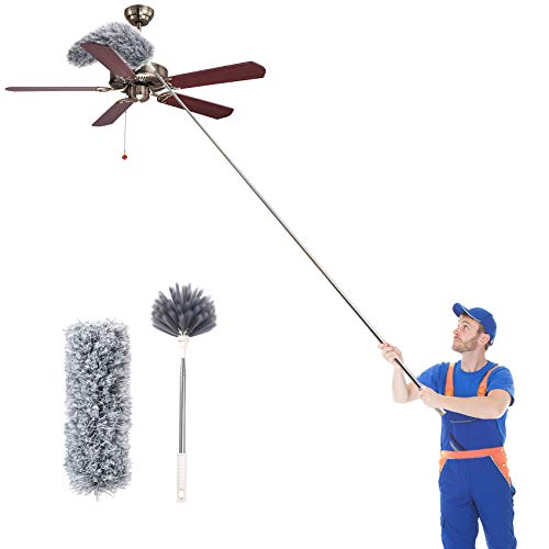 """Uwilowe Microfiber Duster with Extension Pole 30 to 100""""(Stainless Steel), Ceiling Fan Duster with 2 Replacement Cleaning Heads, Extendable Long Dusters for Cleaning Furniture, Vents, Car"""