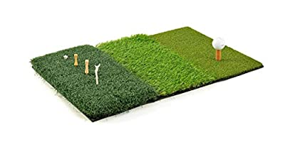 CROSSFINGERS Golf Mat, 3-in-1 Turf Grass Foldable and Portable Golf Hitting Mat for Driving, Chipping, Putting, Training and Practice Indoor and Outdoor Aids