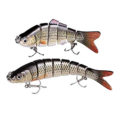 TRUSCEND Fishing Lures Swimbait For Bass,Multi Jointed Topwater Life-like Trout Swimbait Hard CrankBaits for freshwater and saltwater with Mustad Hooks Improve Your Fishing Game