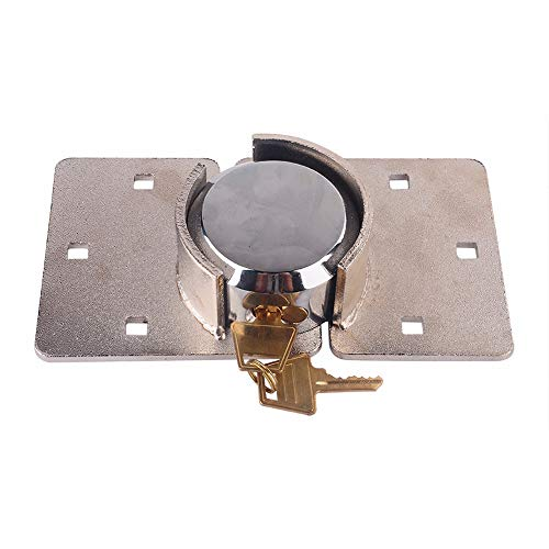 73mm Round Shackleless Padlock & Hasp Set Door Lock Padlock and Heavy Security Hasp + Nuts Bolts Fixings for Van Locks