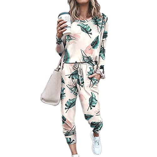 Sweatyshark Survêtement Femme Ensemble de Sport 2 Pièce Sweatshirt + Pantalon avec Poches Casual Pyjama D'Intérieur Jogging Pullover Outwear Tenue Yoga Sportswear,C Kaki,L
