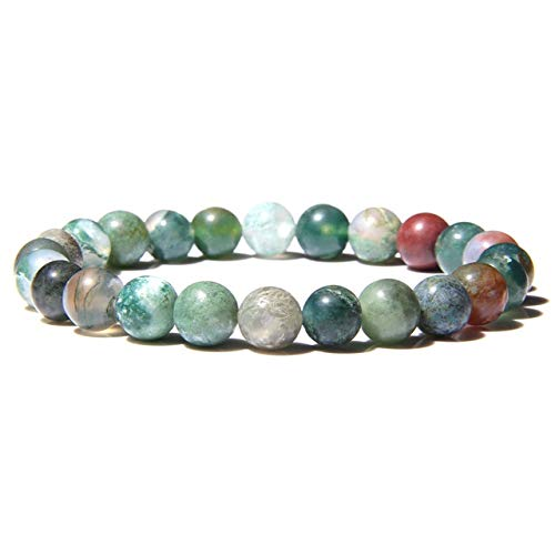 K-ONE Natural Stone Bracelets Women Men Agates Crystal 8Mm Beads Bangles Elastic Jaspers Cat Eye Bracelet Stone Jewelry
