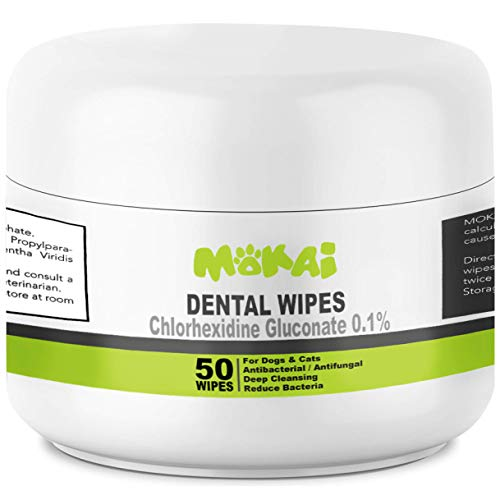 MOKAI Dental Wipes for Dogs and Cats (50 Count)
