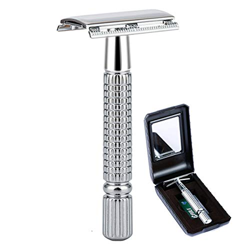 BAILI Classic 3-Piece Double Edge Safety Razor Wet Shaving for Men Women with Platinum Blade and Mirrored Travel Case BD171