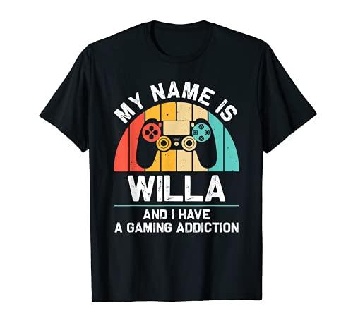 WILLA Regalo Nombre Personalizado Funny Gaming Geek Birthday Camiseta